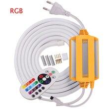 220V RGB Neon Strip LED Light 5050 24key Remote Control or s