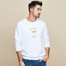 KUEGOU 2019 Autumn 100% Cotton Black Embroidery Sweatshirts Men Fashions Japanese Streetwear Hip Hop Male Brand Clothes Top 2259