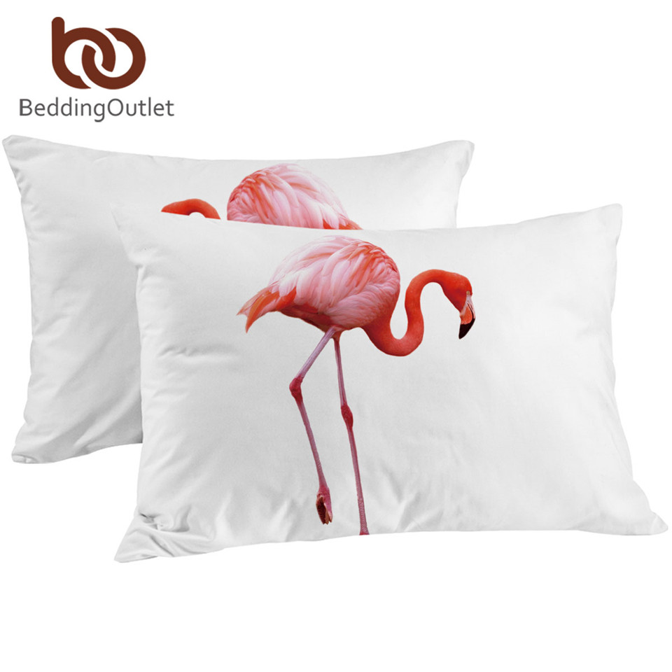 BeddingOutlet 2 Pieces Pink Flamingo Pillowcase Simple Adorable Bird <font><b>Pillow</b></font> Cover White Microfiber <font><b>Pillow</b></font> <font><b>Case</b></font> 50x75cm <font><b>50x90cm</b></font> image
