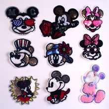 Pulaqi Cartoon Mickey Patch DIY Embroidery Patches for Clothing Sequins Sew-on on Clothes Mouse Cute Appliques For