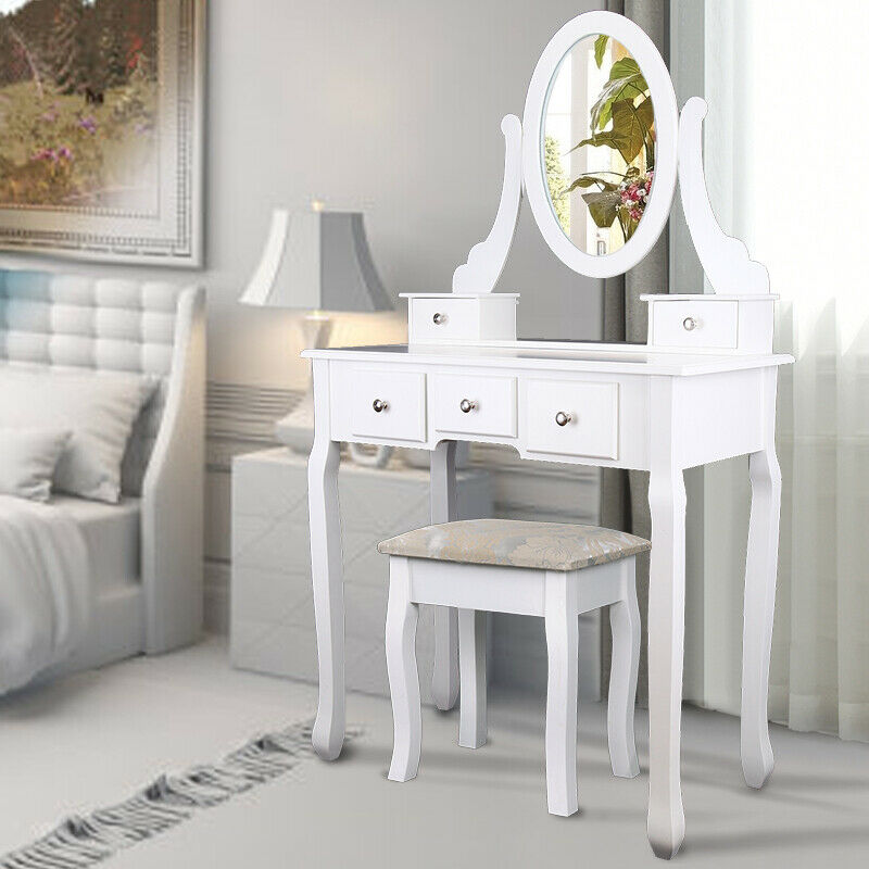 Modern Makeup Table Home Dresser With Mirror Stool And 5 Drawers In MDF