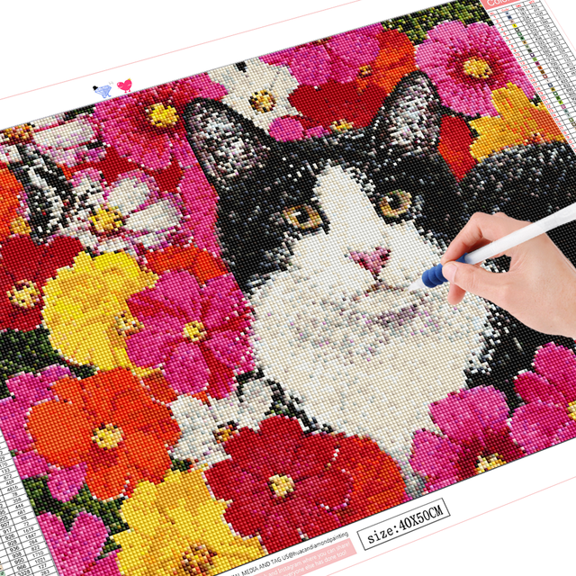 HUACAN Full Drill Diamond Painting Cat Embroidery Animal Handmade Wall Stickers Diamond Art Home Decoration