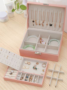 Jewellery-Box Ornament Storage-Box Stud-Earrings Multi-Function Large Double-Layer New