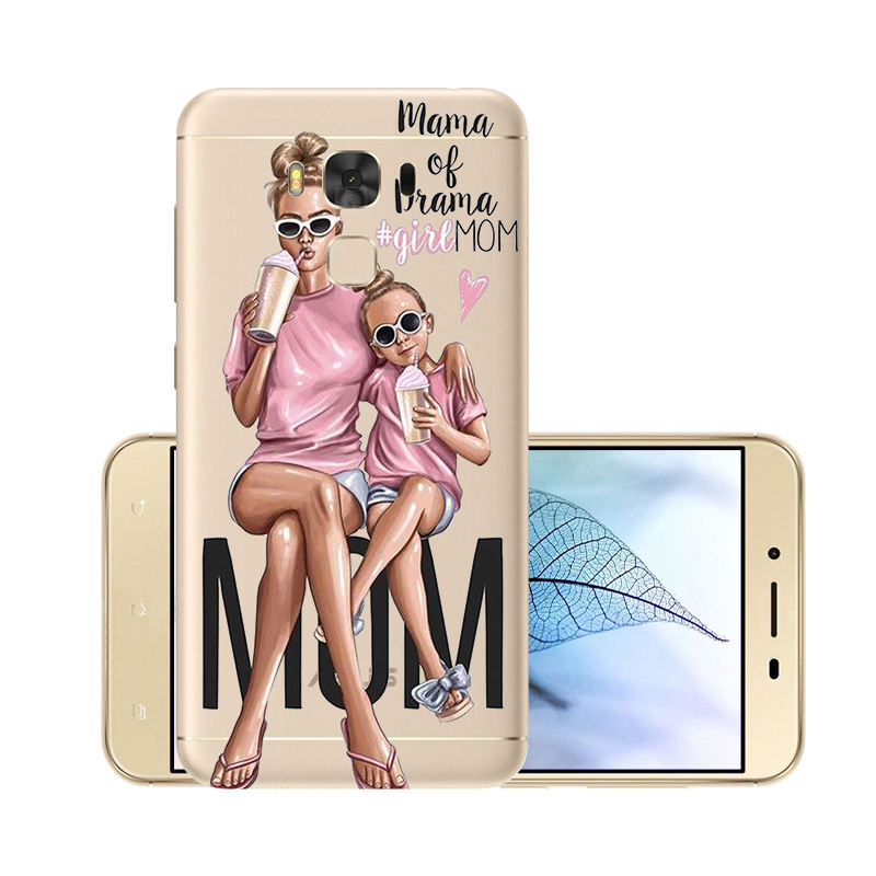 Fashion Super Mama Girl Baby Painted Case for <font><b>Asus</b></font> Zenfone 3 Max Zc553kl <font><b>ZC</b></font> <font><b>553</b></font> <font><b>KL</b></font> Transparent Silicone Shell Case 5.5