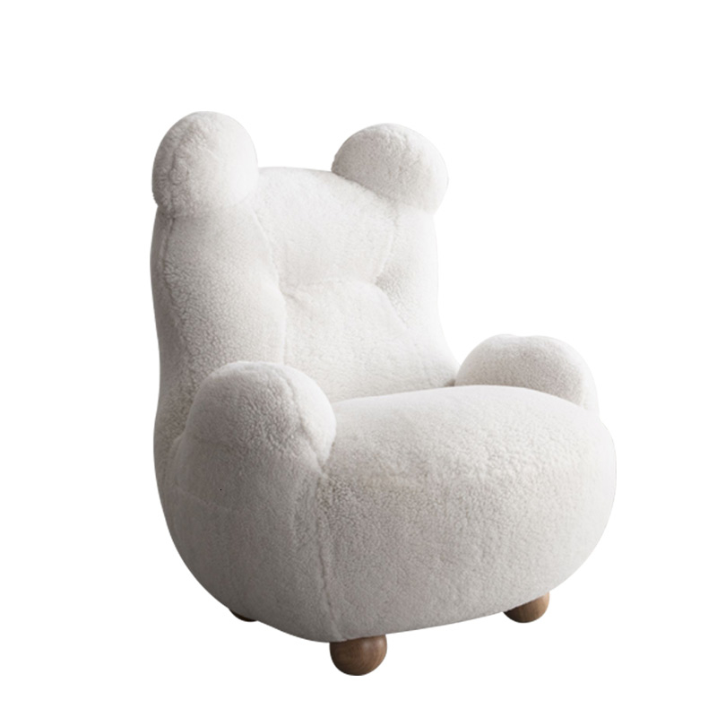 White Bear Cute Plush Single Person Little  Children Sofa Soft Comfortable Kids Sofa Bean Bag Zitzak Nordic Baby Furniture