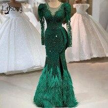 Vestidos de Noche de encaje con cuentas verdes esmeralda de lujo, imagen Real, pluma, sirena, vestidos de noche sexis de manga larga con abertura lateral