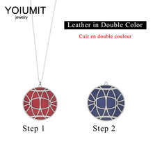 Cremo Stainless Steel Interchangeable Leather Necklace Jewelry Reversible Round Pendant Necklaces & Pendants