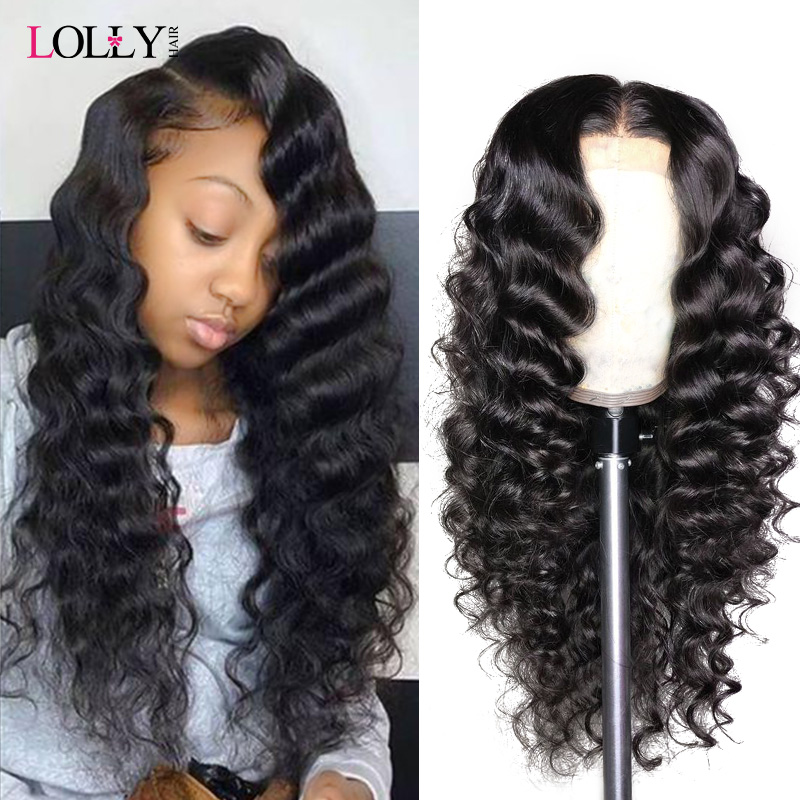 Lolly Hair Loose Deep Wave Wig 13x4 150% Brazilian Lace Front Human Hair Wigs Pre Plucked Remy Human Hair Wigs For Black Women