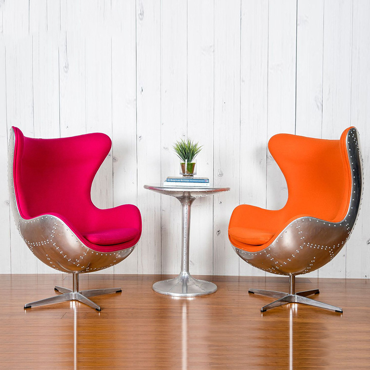 Egg-chair, Creative Egg-shell Chair, Industrial Air Casual Chair, Echinchair Genuine Leather Rivet Computer Chai