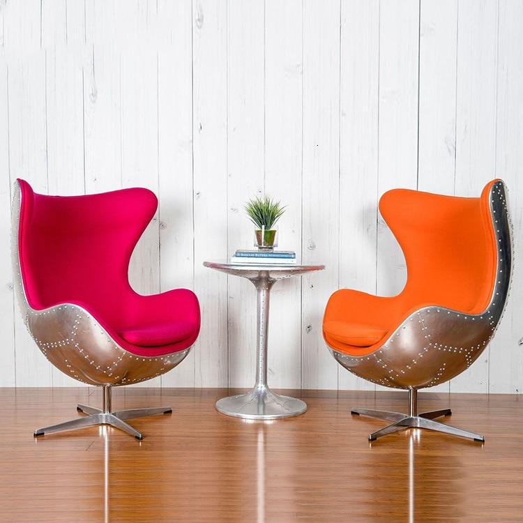 Egg-chair, Creative Egg-shell Chair, Industrial Air Casual Chair, Echinchair Genuine Leather Rivet Computer Chai