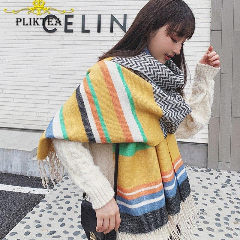 Thick Warm 2019 Winter New Yellow Cashmere Blanket Scarf Poncho Female Shawl Wrap Lady Hijab Tippet Scarf Wrap Stole Pashmina