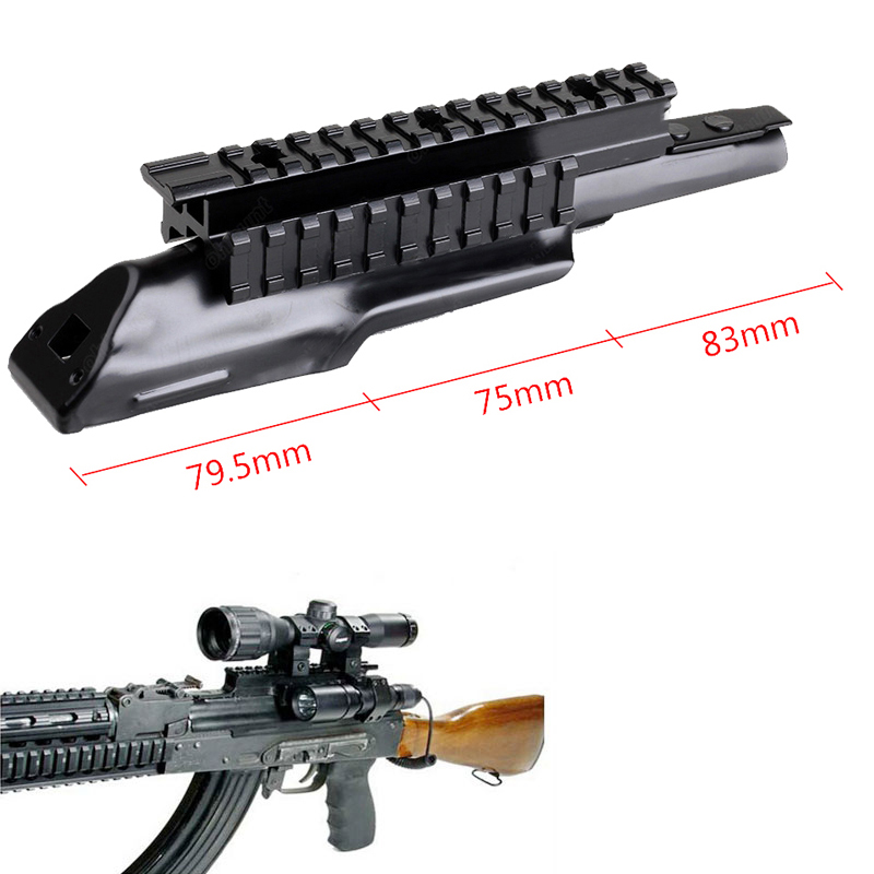 Top <font><b>AK47</b></font> Tri-rail Tactical <font><b>Mount</b></font> Integral Rail Receiver Cover <font><b>Scope</b></font> <font><b>Mount</b></font> Picatinny Rail Weaver Base For Hunting <font><b>Scope</b></font> image