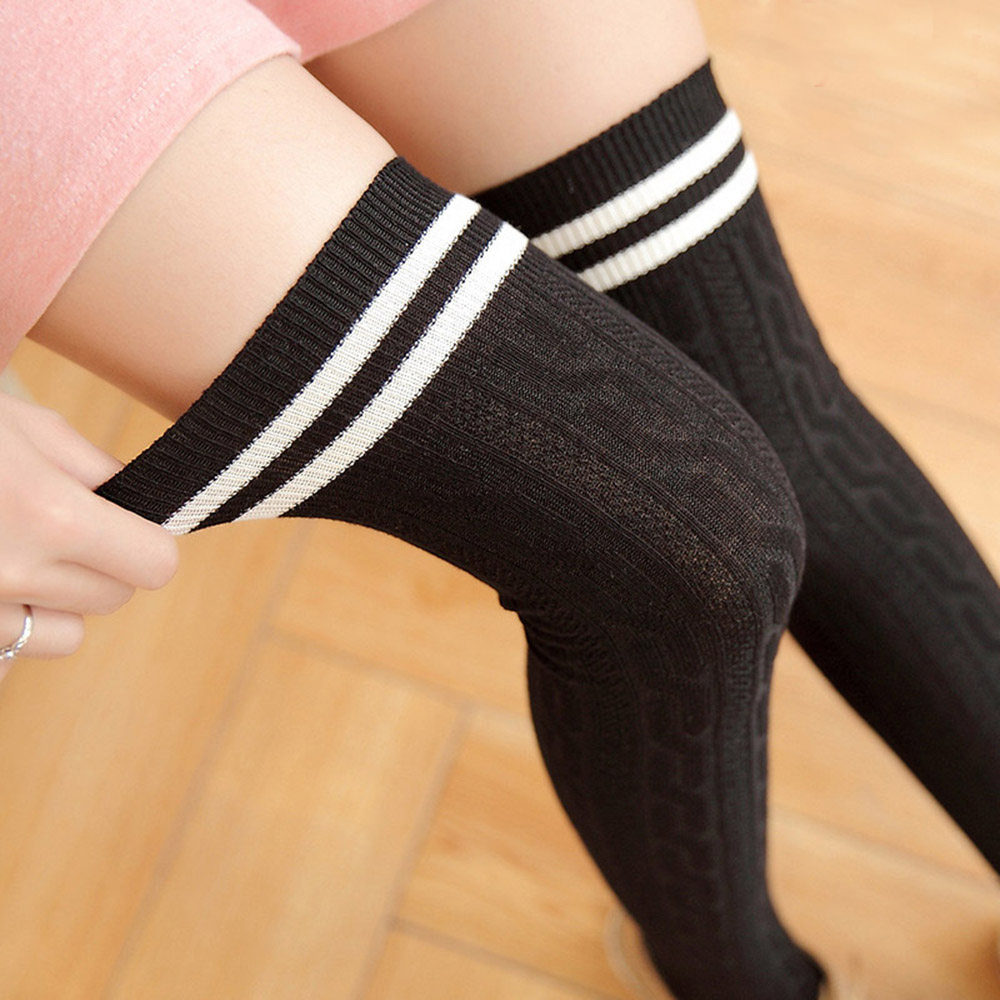 1Pair 2019 Cotton Stripe Stockings Girls korean Japanese <font><b>Kawaii</b></font> Lolita <font><b>Socks</b></font> Casual Thigh High <font><b>Knee</b></font> <font><b>Socks</b></font> Womens Long <font><b>Socks</b></font> image
