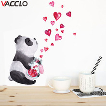 Vacclo New Love Hand-painted Panda Wall Stickers for Kids