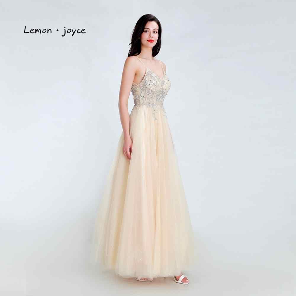 Лимонное joyce Шампанское Вечерние платья 2020 Сексуальная Иллюзия открытая спина v-образным вырезом Бисероплетение A-Line Выпускные вечерние платья размера плюс