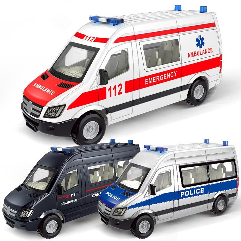 Plastic Alloy Ambulance Emergency Toy Police Pull Back Car Model Slide Open Door Ambulancia Educational Kids Toys For Children