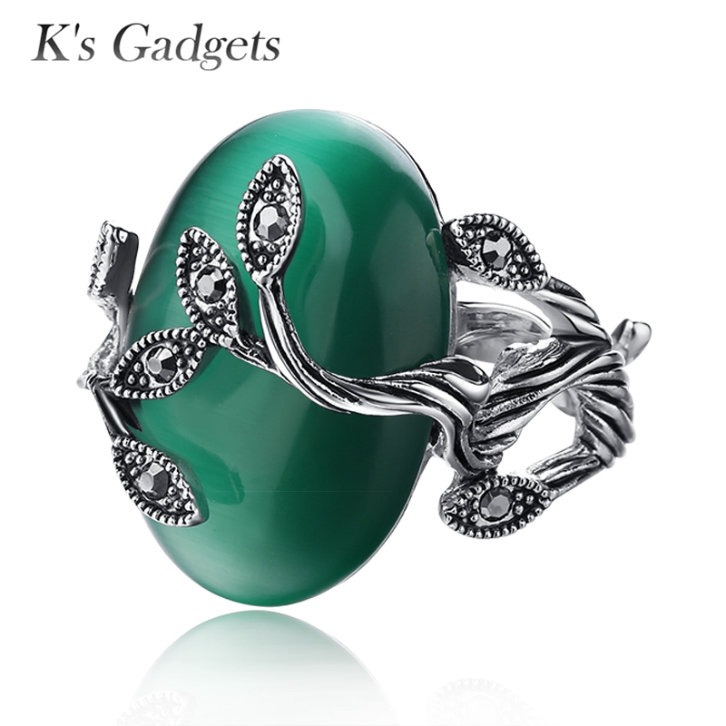 K's Gadgets Carved Ring Antique Silver Plate Natural Green Opal Jewelers Vintage Retro Prsteny Zircon Big Stone Ring pro ženy