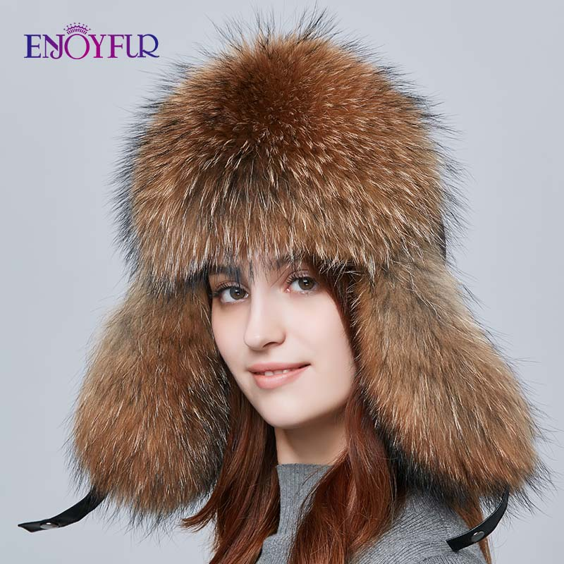 ENJOYFUR Warm Women Winter Hat Earflap Real Fox Fur Patchwork Genuine Leather Caps With Earflaps Russian Bomber Hats Ushanka