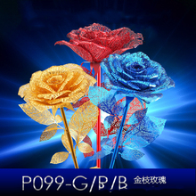 3D Metal-Puzzle Blue Golden Red Rose  DIY-Metal-Model 3D Laser Cut Model-Puzzle Nano Puzzle Toys chinese metal earth iconx 3d metal model kits 6 inch federation skyscraper 2 sheets military nano puzzles diy creative gifts