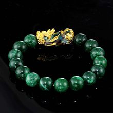 Green Jade Bracelet Stone Golden Pixiu Charm Color Changing Wristband for Men FEA889(China)
