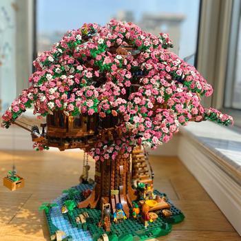 In Lager MOC Ideen Serie Wald Baum Haus Sakura Modell Sets Bausteine Bricks kompatibel 21318 Kinder Spielzeug Geburtstag Geschenke