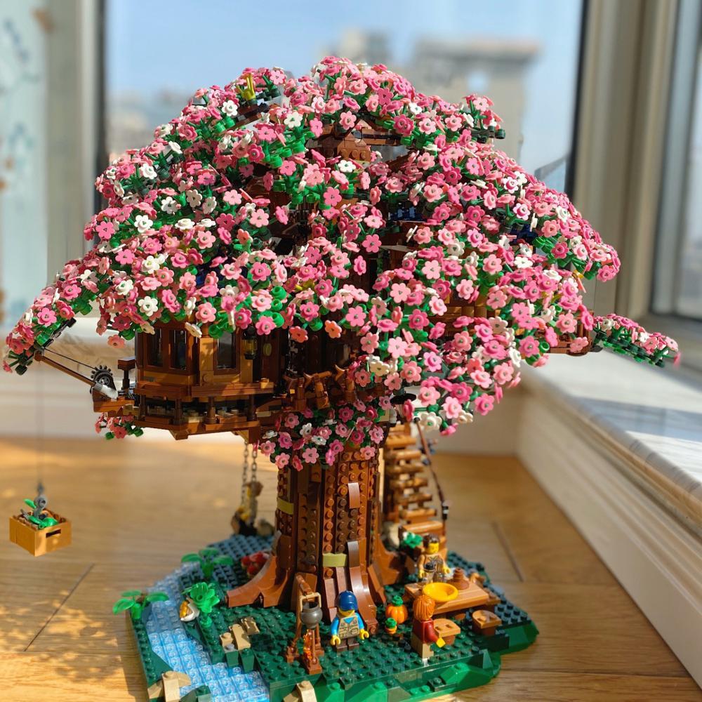 В наличии, Мпц идеи серии лесного дерева дом Sakura модель комплект конструкторных блоков, Детские кубики Совместимость 21318 детские игрушки по...