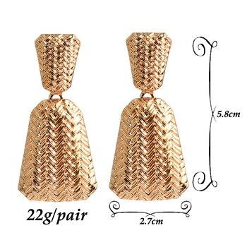 Geometric Gold Metal Drop Earrings  6