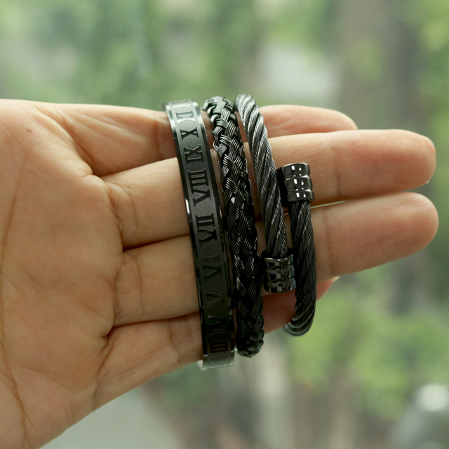 3pcs/Set Hot Men Titanium Steel Roman Numeral Bracelet Horseshoe Buckle Bangles Pulseira Bileklik Luxury Handmade Jewelry 4