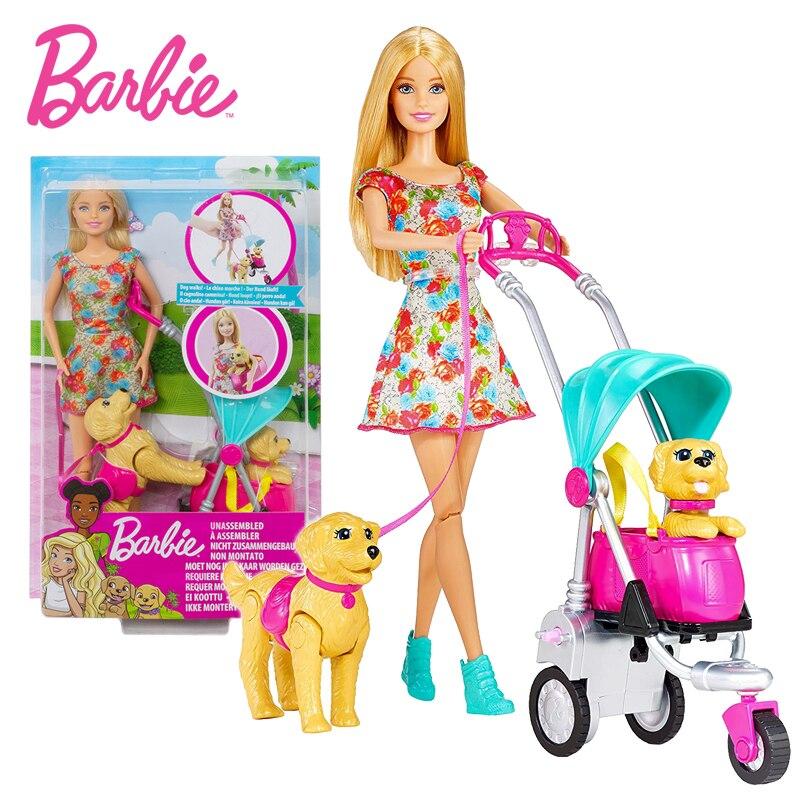 Barbie kinderwagen spielzeug set pet welpen CNB21 mädchen prinzessin geburtstag geschenk spielen haus spielzeug zwei hund pet Weihnachten Geschenk Mädchen spielzeug