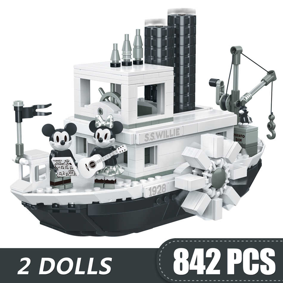 842PCS Small Building Blocks Toys Compatible with Legoe Mickey Minnie Steamboat Willie Gift for girls boys children DIY