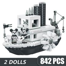 842 個スモールビルディングブロック玩具互換 lepinging ミッキーミニー蒸気船ウィリーギフトガールズボーイズ子供 diy
