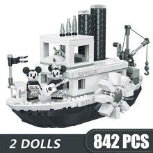 842PCS 작은 빌딩 블록 장난감 호환 Lepinging 미키 미니 Steamboat 윌리 선물 소녀 소년 어린이 DIY