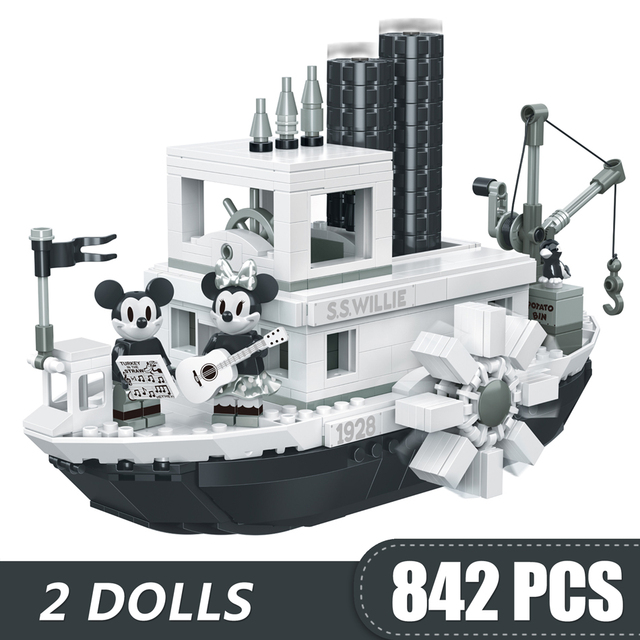842PCS Small Building Blocks Toys Compatible Lepinging Mickey Minnie Steamboat Willie Gift for girls boys children DIY