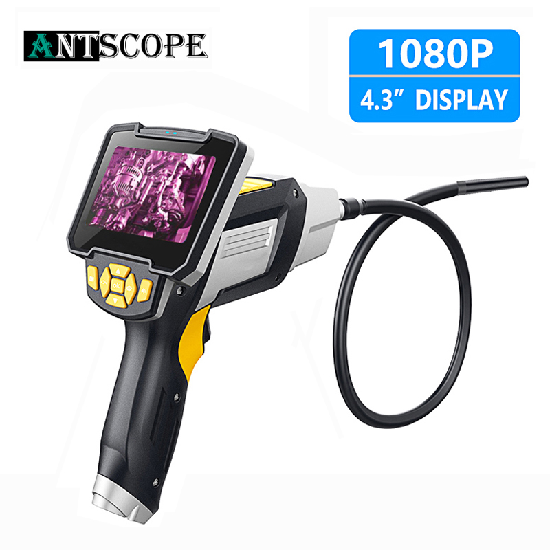Antscope 1080P HD 8mm Industrial Endoscope 4.3 Inch Car Inspection Camera Handheld 1/3/5/10m Endoscope Snake Tube Hard Camera 19-in Surveillance Cameras from Security & Protection