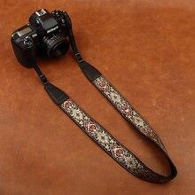 カムイン 8411 刺繍カメラストラップソフト綿デジタルカメラネックストラップ革ストラップ長さ調節可能