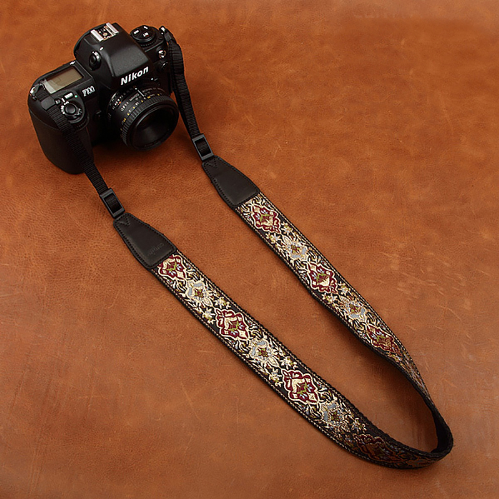Cam-in 8411 Embroidered Camera Strap Soft Cotton Digital Camera Neck Strap Leather Lanyard Adjustable Length