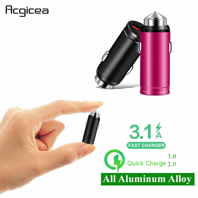 QC 3.0 USB Mini Car Charger Fast Charging For iPhone X Samsung S8 Huawei P30 All Aluminum Alloy Mobile Phone Car Charger Adapter