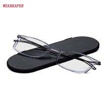 WEARKAPER тонкие очки для чтения Для мужчин Для женщин с Alumiun Магнитный чехол металлический рябое при дальнозоркости, Линзы для очков 1,0-3,5