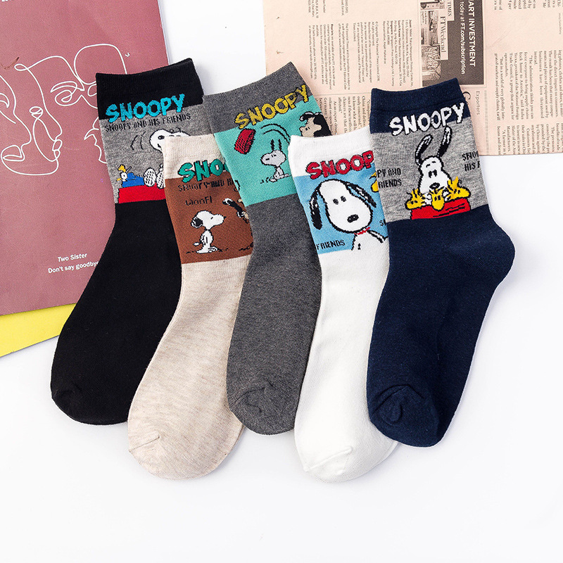 2019 Ins Style Funny Animal Patterned Men Women Socks  Cartoon Snoopy Cotton Breathable High Quality Female Harajuku Cool Sox