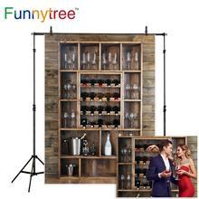 Funnytree fotografía backdrops estantería botellas de vino copas pared de madera bodega de alcohol barra de bebidas Fondo fotografía