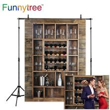 Funnytree photography backdrops Shelving wine bottles glasses wooden wall alcohol cellar bar beverage background fotografia