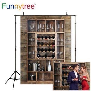 Image 1 - Funnytree photography backdrops Shelving wine bottles glasses wooden wall alcohol cellar bar beverage background fotografia