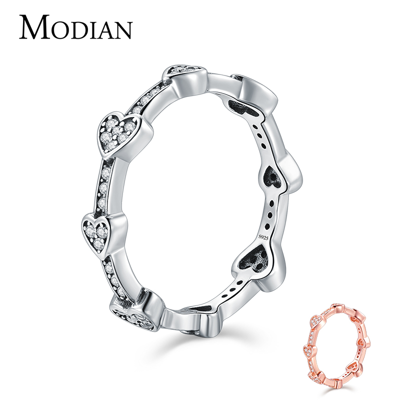 Modian Romantic Fashion New Real 925 Sterling Silver Clear CZ Love Hearts Finger Ring For Women Wedding Party Jewelry Anneau