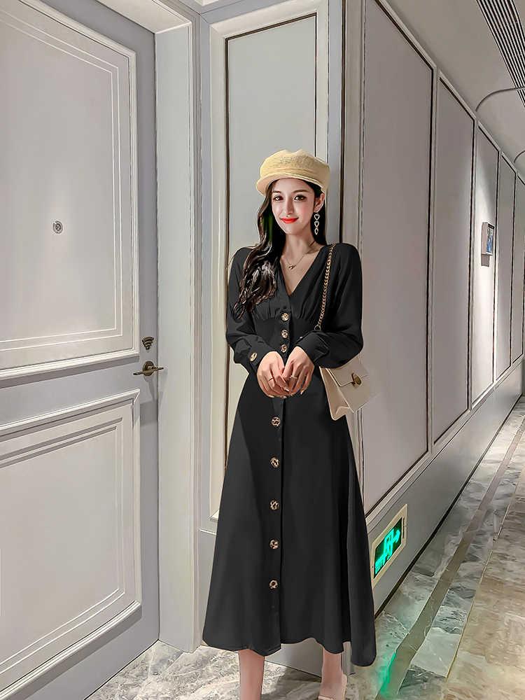 Новое осеннее платье больших размеров вечерние женские винтажные платья женские платья с длинными рукавами и пуговицами желтая длинная рубашка халат в стиле бохо Vestido