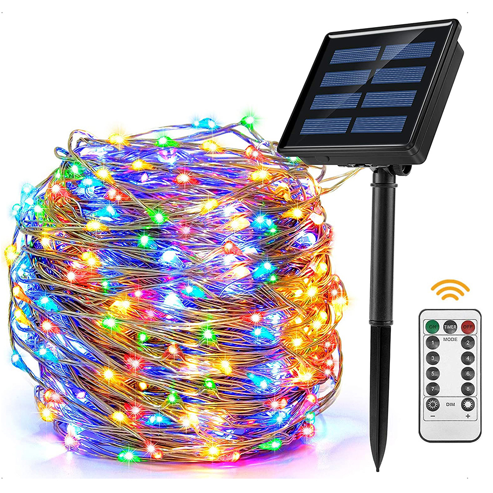 7M 12M Remote Control LED Solar Powered String Lights Waterproof Christmas Fairy Light For Garden Patio Yard Wedding Party Decor