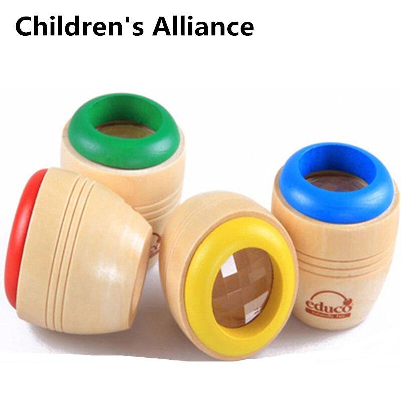 Caleidoscópio mágico educacional de madeira bebê criança crianças aprendendo brinquedo do enigma