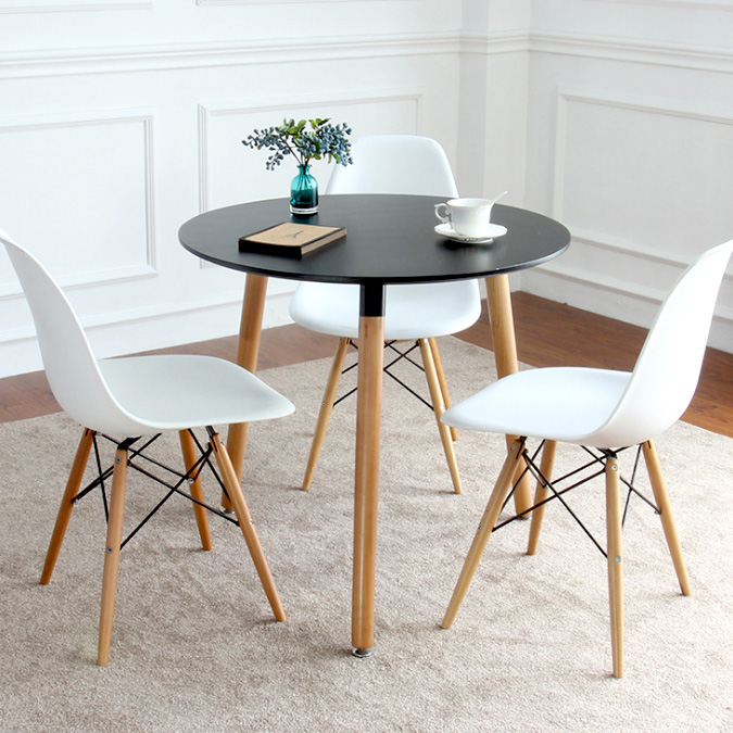Nordic Imus Dining Table And Chair Combination Solid Wood Coffee Table Simple Tea Table Leisure Tea Table Small Round Table