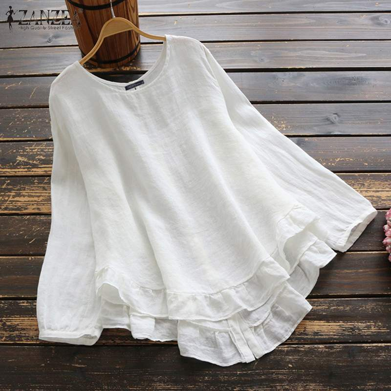 ZANZEA Spring O Neck Long Sleeve Ruffles Blouse Vintage Women Cotton Linen Shirts Plus Size Blusas Femininas Casual Loose Tops