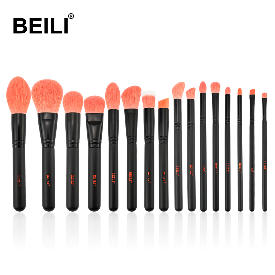 BEILI 2019 Coral Red Makeup Brushes Powder Foundation Eyeshadow Soft Nano Fiber Synthetic Hair Cosmetic Brush Matte Black Handle