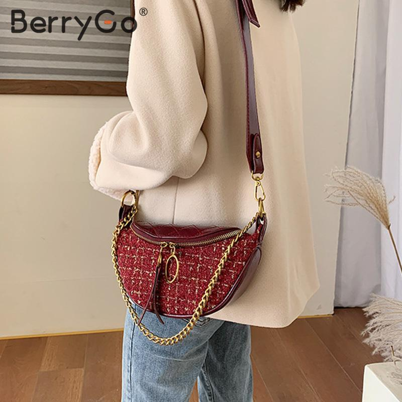 BerryGo  Elegant Pu Leather Shoulder Bag Women Strap Chain Ladies Dumpling Bags Belted Zippers Suede Plaid Female Messenger Bag